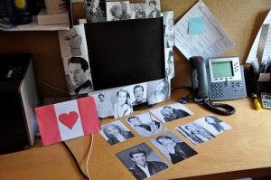 We decorated her desk with photos of her famous compatriots, and a handmade card we all signed.