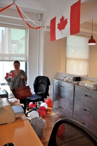Steve made this amazing Canadian flag for above her desk, and decorated the entire office with red and white streamers and balloons.