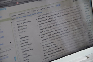 Using the power of technology, we had co-workers send her emails from famous Canadians. In this screenshot, you can see emails from Anne of Green Gables, Michael J. Fox, Avril Lavigne, Conraid Bain (that's Mr. Drummond to you), and Michael Cera. Later in the day she even received an email from a deceased former Prime Minister. Aweomse, eh?